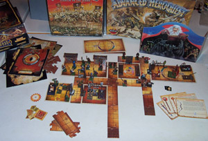 Contents of Advanced HeroQuest Box, with HeroQuest Elements