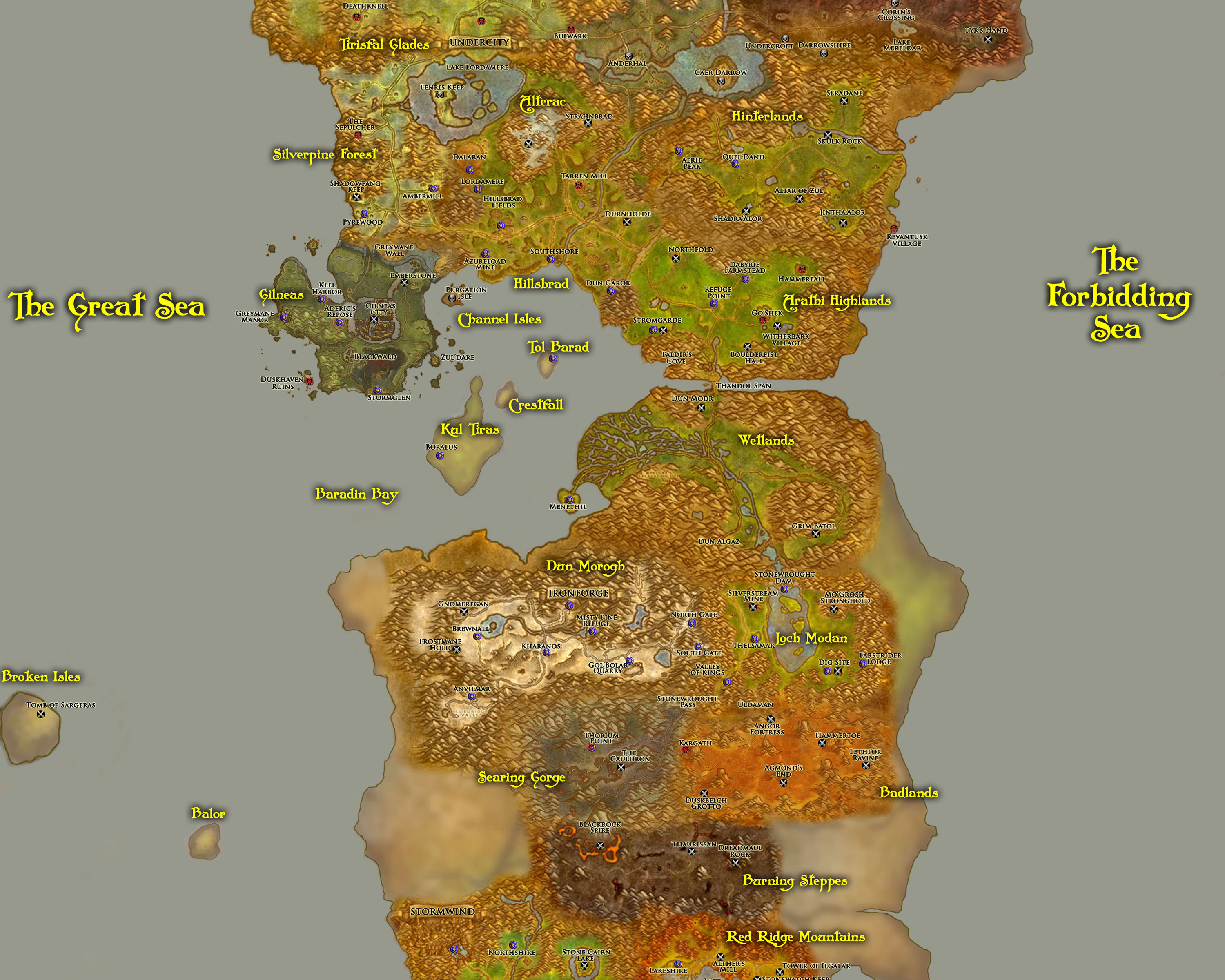 Greywolfs world of warcraft fan site travel eastern kingdoms travel map part b gumiabroncs Images